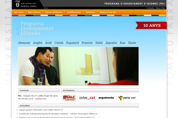 Web del programa d'Ensenyament d'Idiomes de la UPF