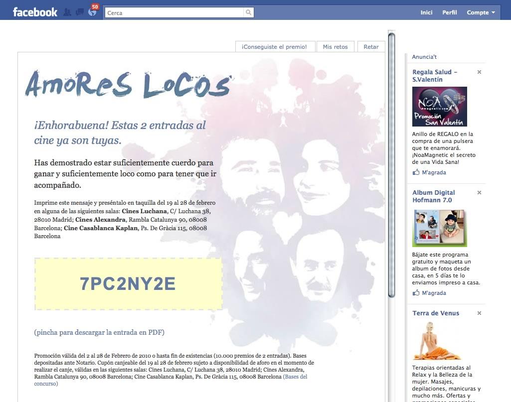 Facebook page Amores Locos