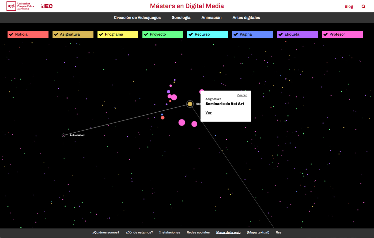 Web dels Màsters en Digital Media IDEC-UPF
