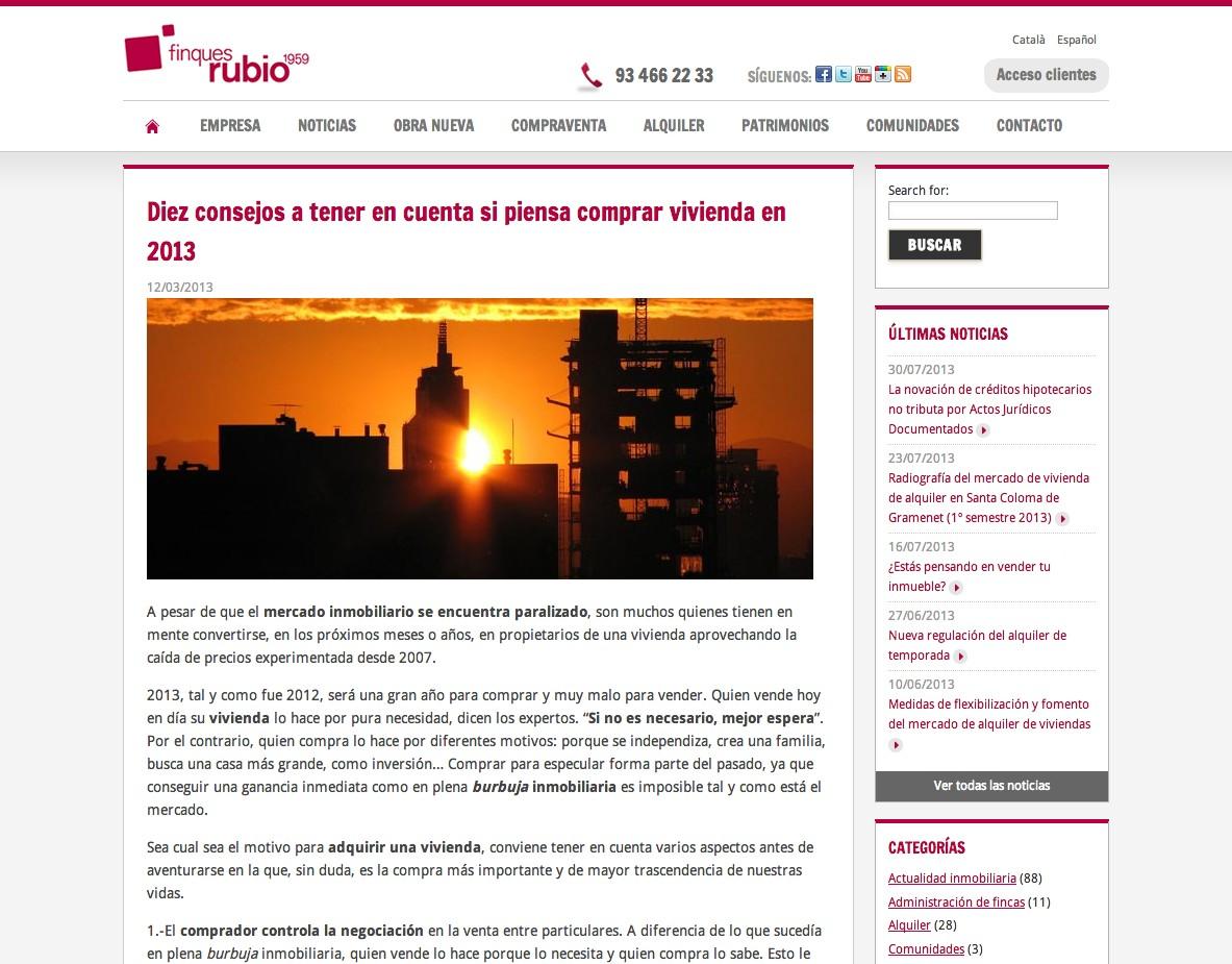 Web Finques Rubio