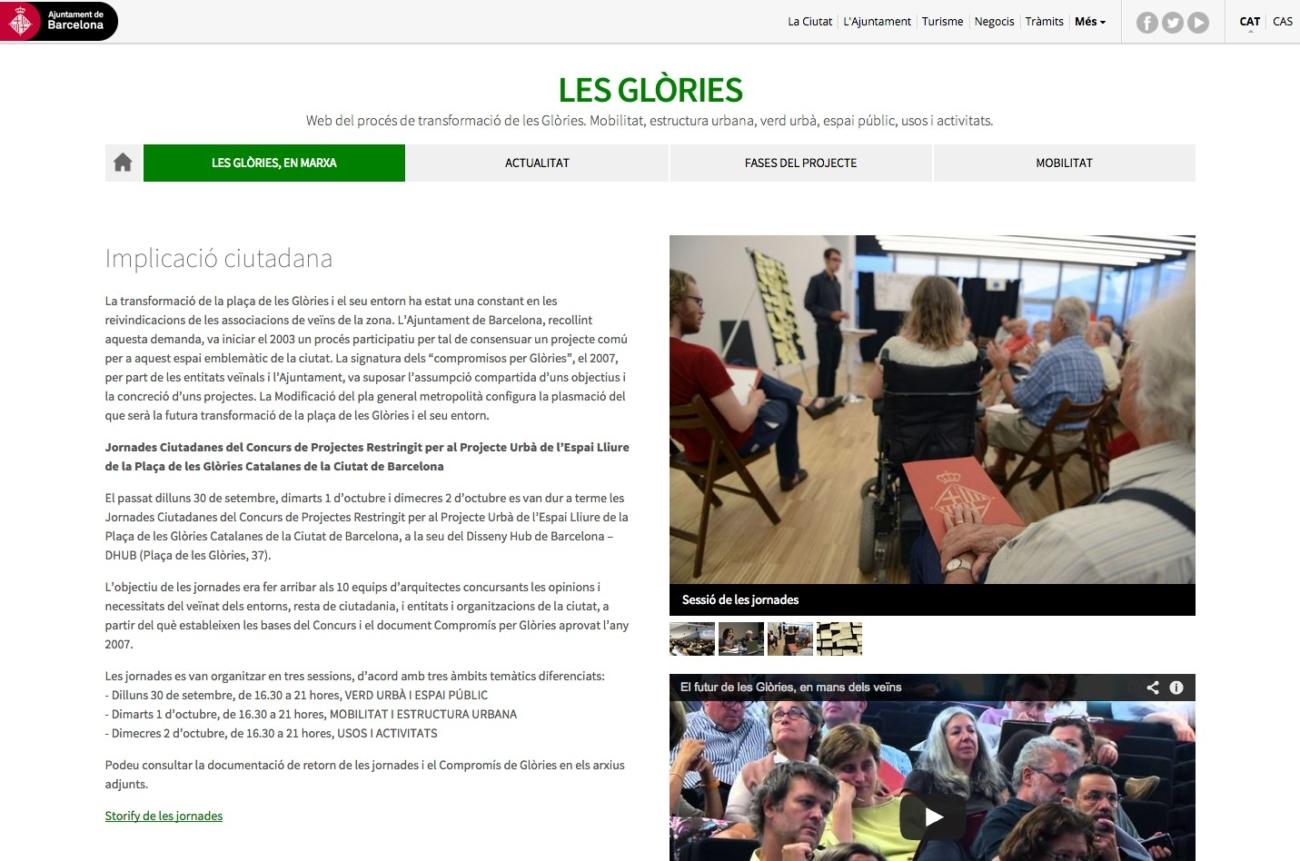 Web de Les Glòries. Ajuntament de Barcelona.