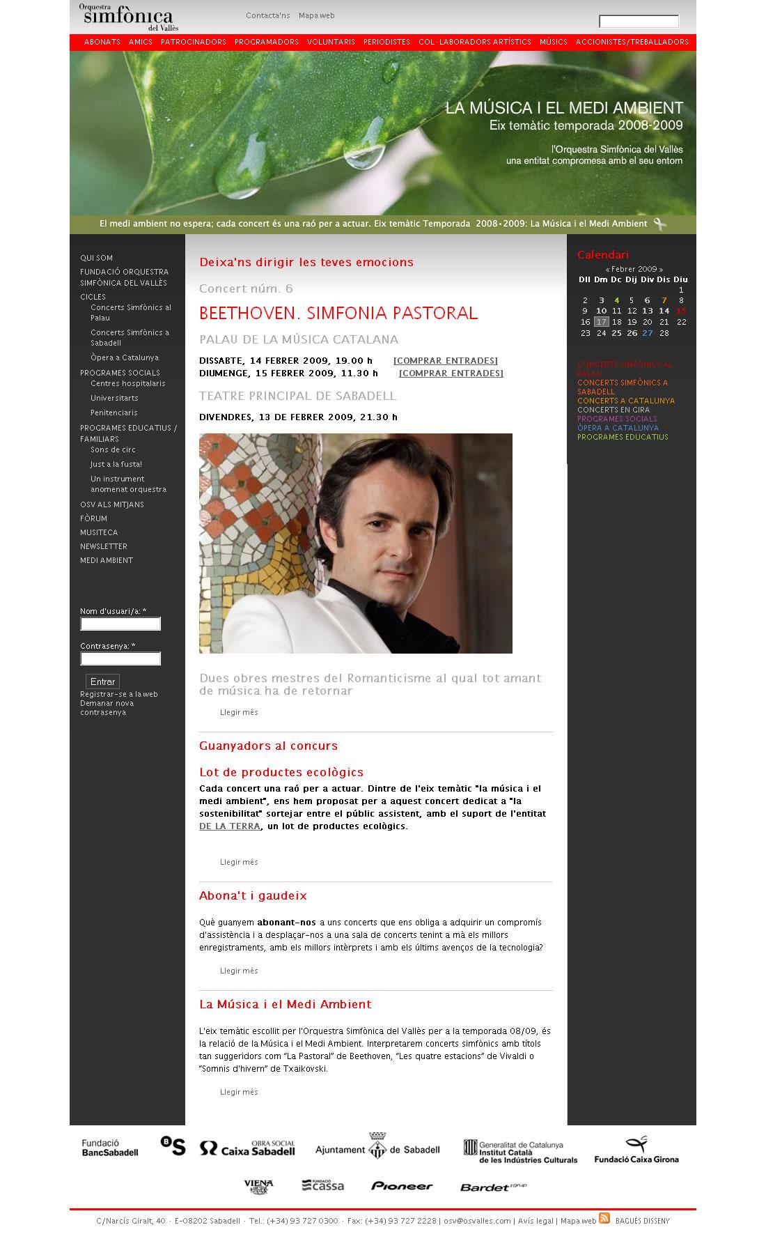 Web Orquestra Simfònica del Vallès