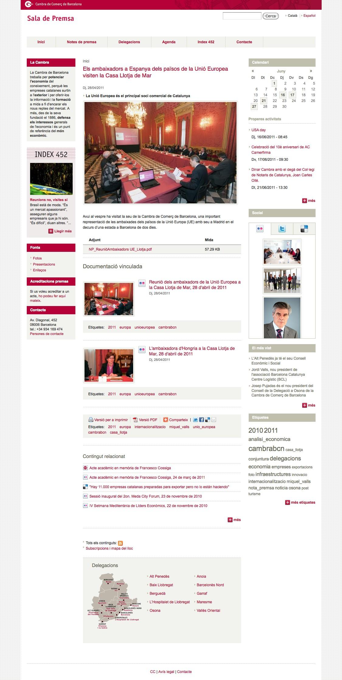 Web de la Sala de Premsa de la Cambra de Barcelona