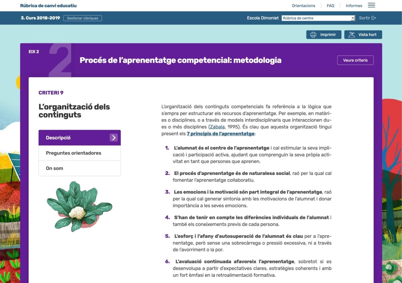 Web pilot Rúbrica de Canvi Educatiu