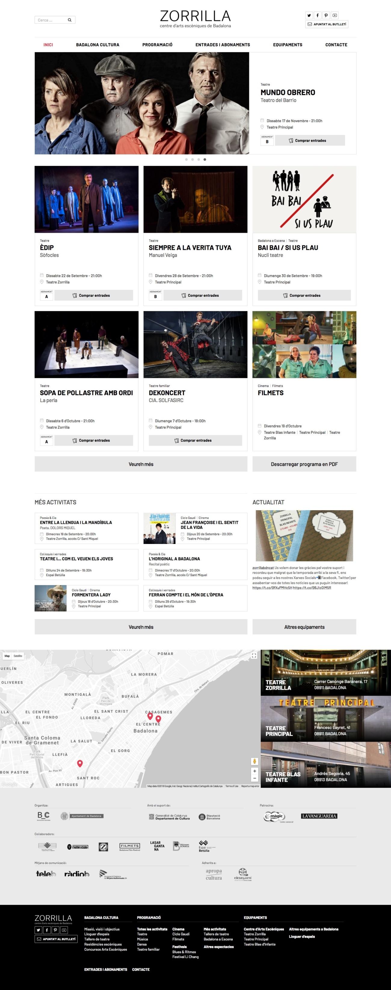 Web del Teatre Zorrilla de Badalona