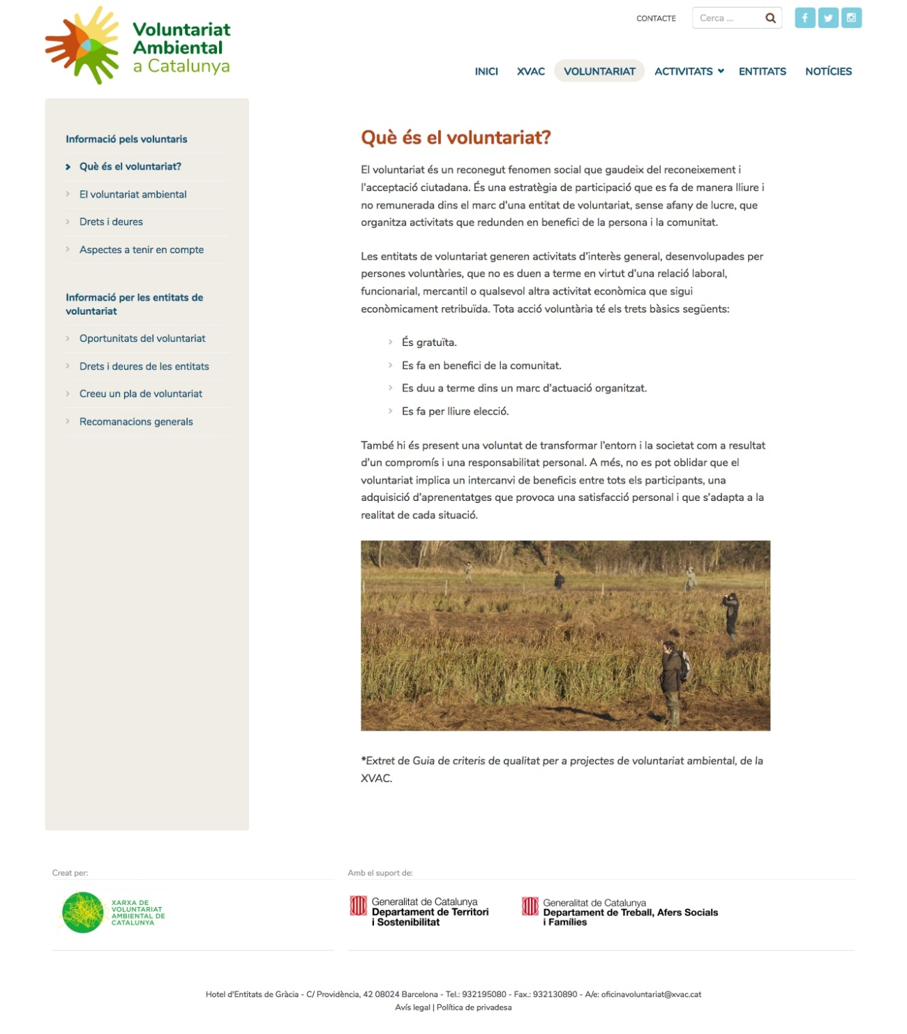 Web Voluntariat Ambiental de Catalunya