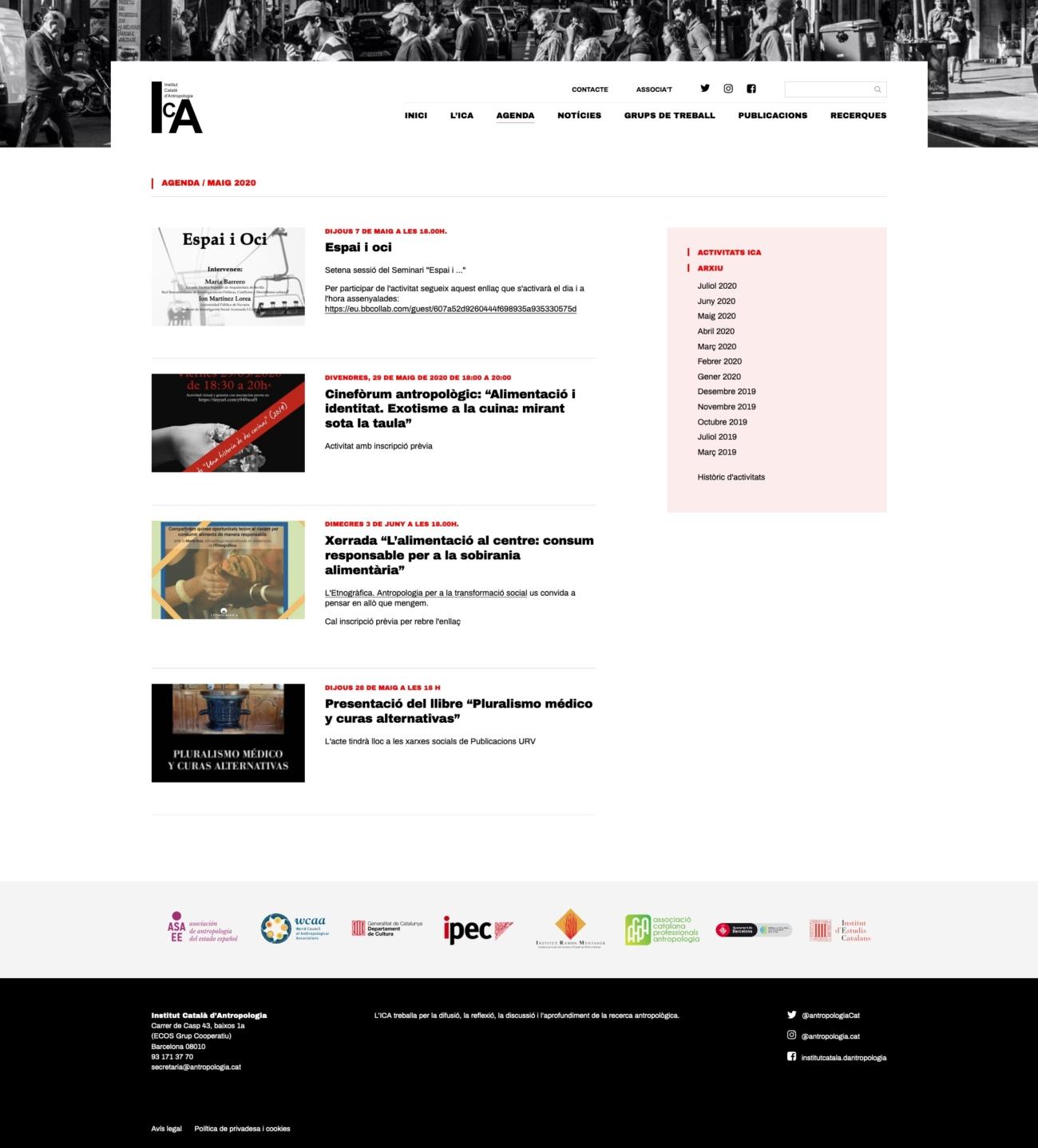 Captura de pantalla de les notíciesde la web de l'ICA