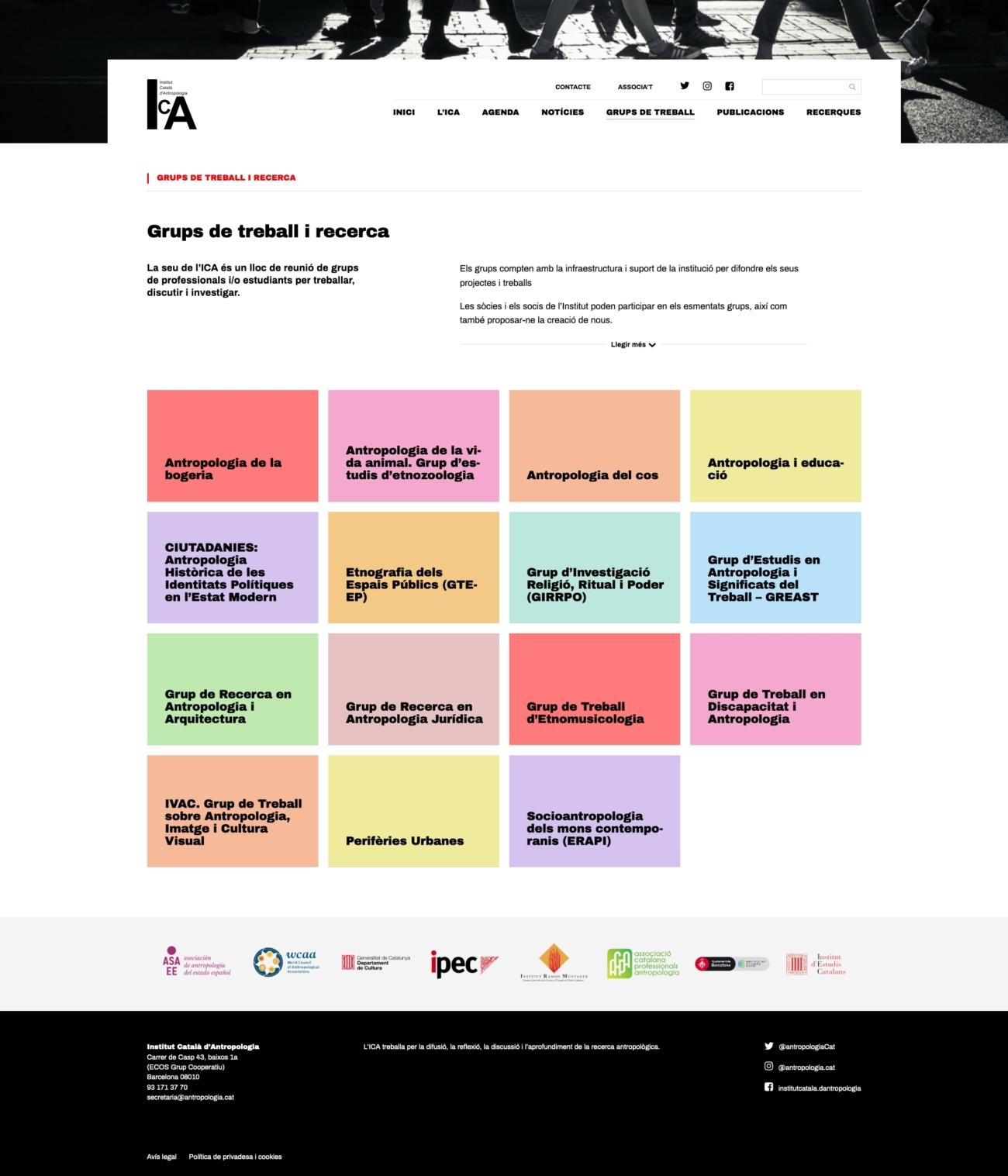 Captura de pantalla del llistat de grups de recercade la web de l'ICA