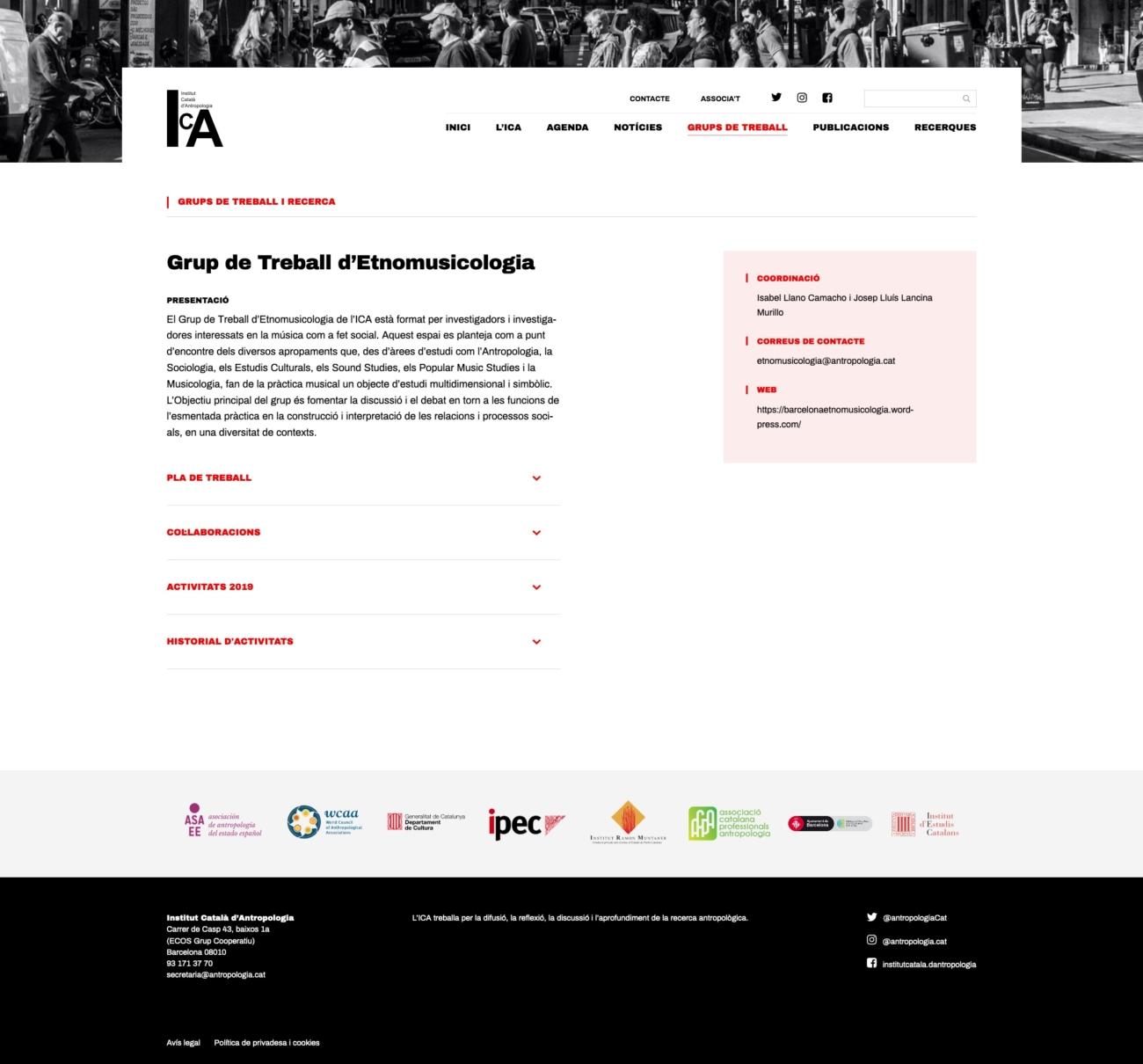 Captura de pantalla d'un grup de recerca de la web de l'ICA