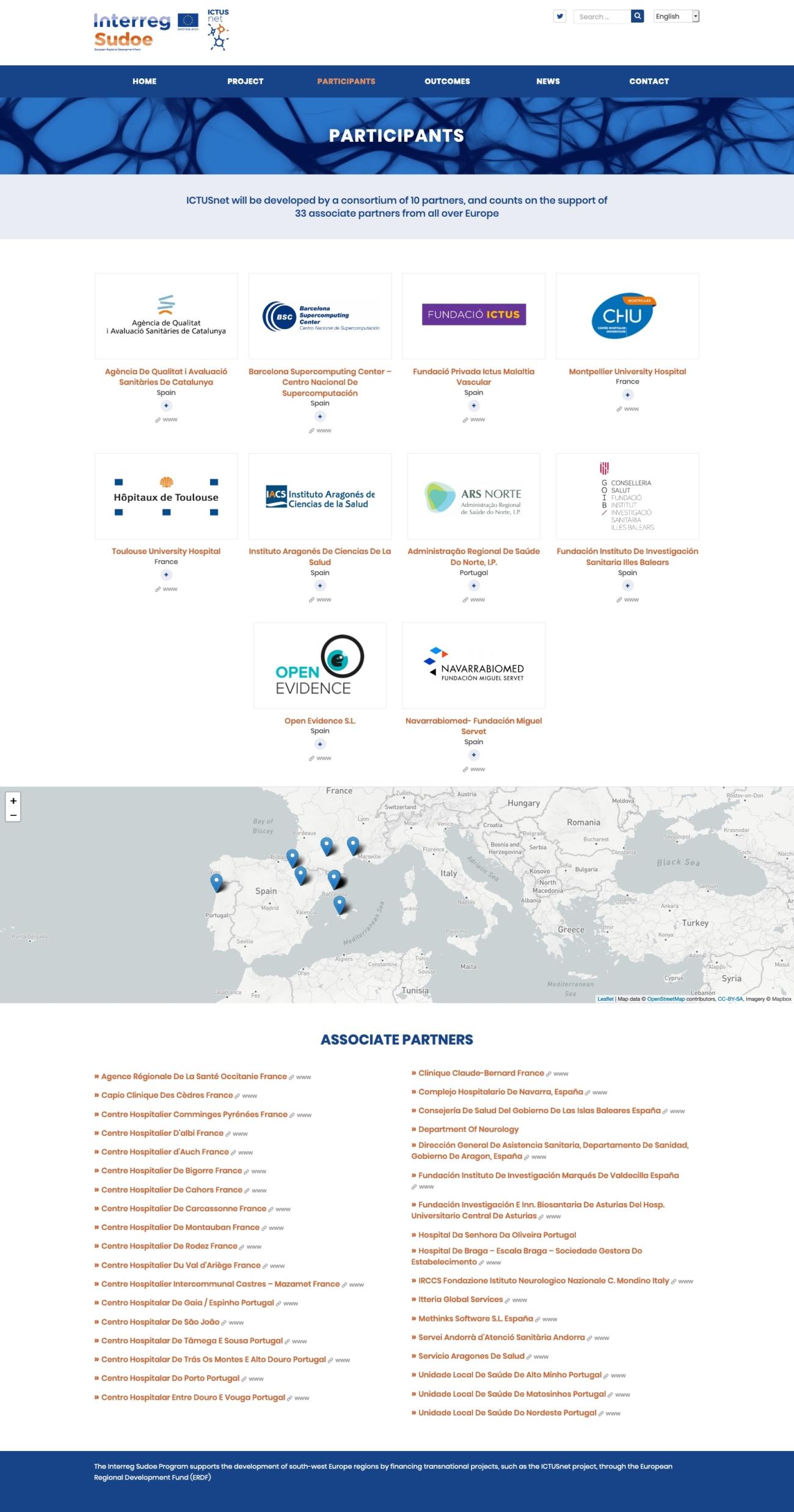 Captura de la secció partners del web d'Ictusnet
