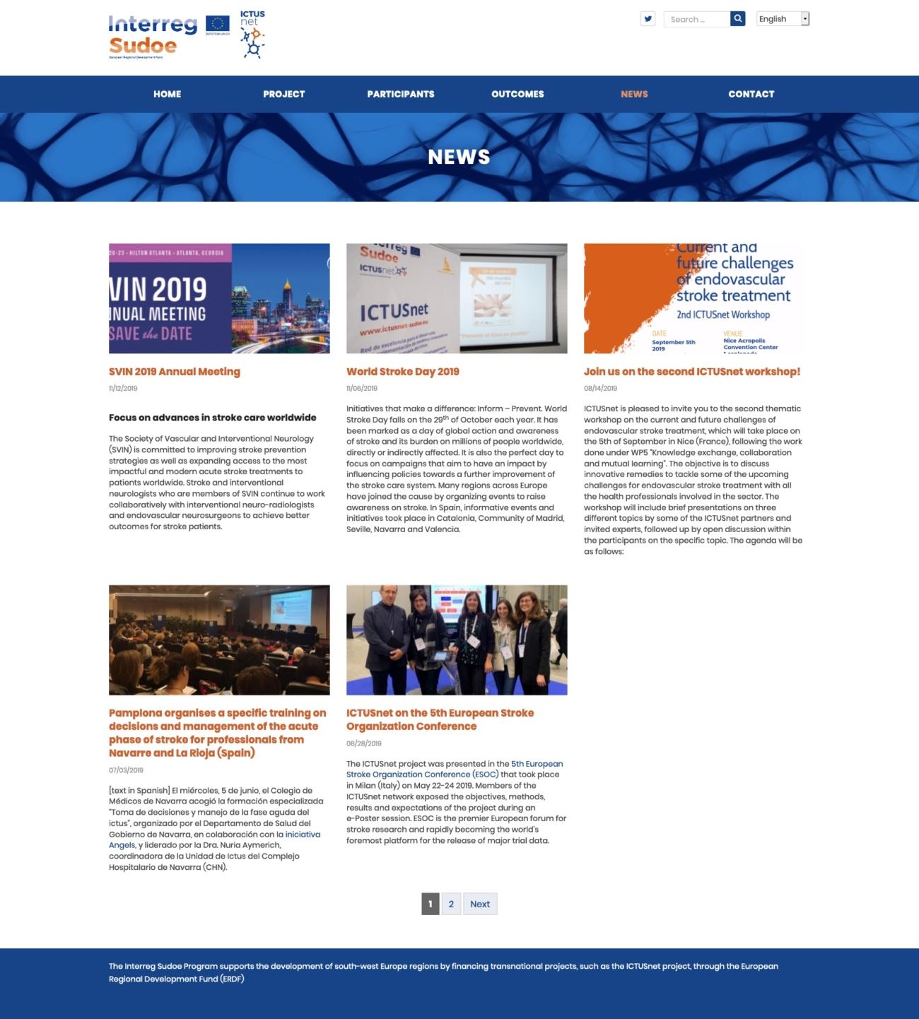 Captura de la secció notícies del web d'Ictusnet