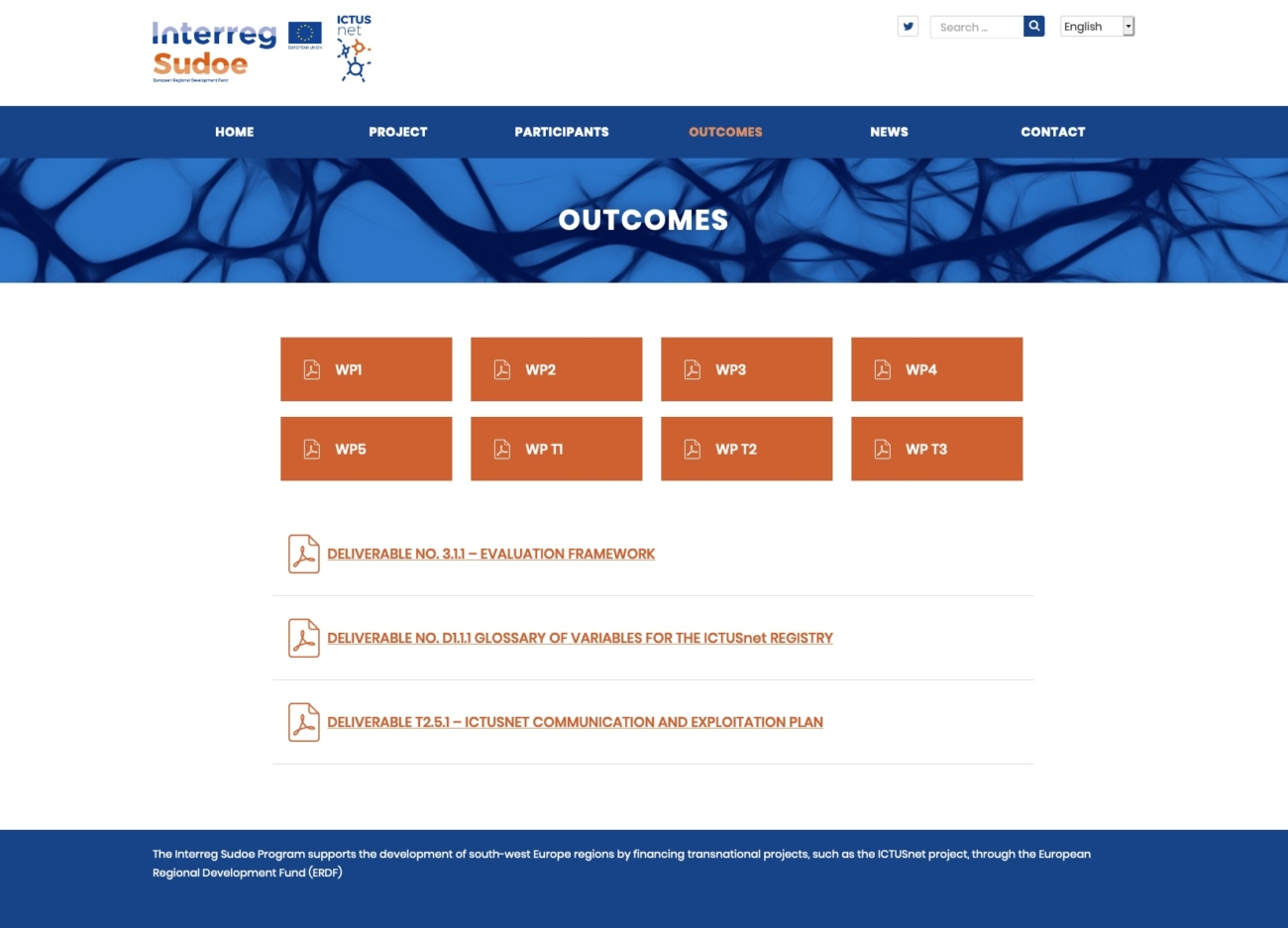 Captura de la secció outcomes del web d'Ictusnet